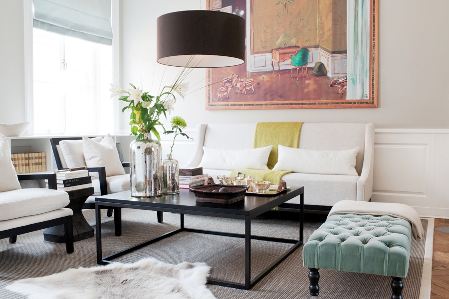 Large Black Pendant Light Over A Coffee Table With White Sofas Living Room  Interior Design Part 37